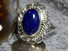 New Light Weight Ladies Sterling Silver Lapis Ring Navajo Virgil Chee Size 9