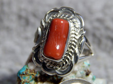 New Light Weight Ladies Sterling Silver Coral Ring Navajo Virgil Chee Size 7