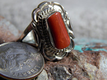 New Light Weight Ladies Sterling Silver Coral Ring Navajo Virgil Chee Size 9