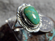 New Light Weight Ladies Sterling Silver Turquoise Ring Navajo Virgil Chee Size 8 3/4