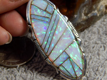 Sterling Silver Created Opal Inlay Pendant By Navajo Steve Francisco