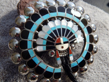 Sterling Turquoise MOP Jet Inlay Sunface God Bolo Tie  Zuni Delger Cellicion