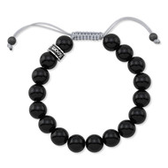 Polished Agate Shamballa Bead Bracelet With Gray Cord