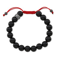 Polished Agate Shamballa Bead Bracelet With Red Cord