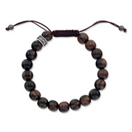 Natural Dark Brown Wood Shamballa Bead Bracelet
