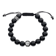 Polished Agate Shamballa Bracelet With Sakura Bead