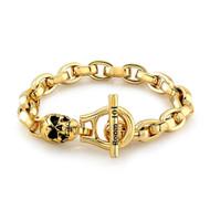 Gold Plated Eddie Link With Skull Bracelet