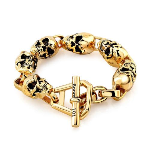 Gold Plated Skull Link Bracelet Room101