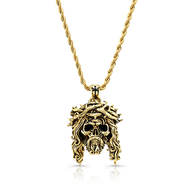 Chuey Quintanar Stainless Steel w/ Gold Plated Jesus Skull - 25in Rope Chain Necklace