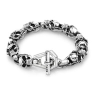 Sterling Silver Men's 06 Skull Link Bracelet