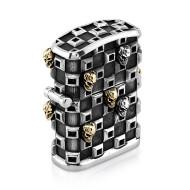 Tank Checker Cigar Lighter in Sterling Silver with 13 Skulls
