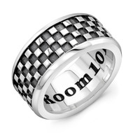 Sterling Silver LG Band Ring - Checker Pattern