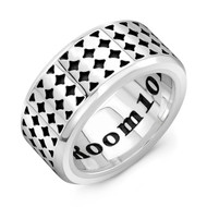 Sterling Silver LG Band Ring- Coaster Pattern
