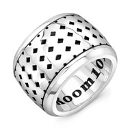 Sterling Silver XXL Band Men's Ring - Coaster Pattern