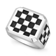 Sterling silver Checker Block (large pattern) Men's Ring