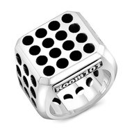 Sterling Silver Ventilation Block Men's Ring