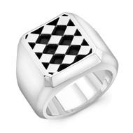Sterling Silver Diamond Block Men's Ring