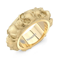 Stainless Steel Gold Plated Skull Ring