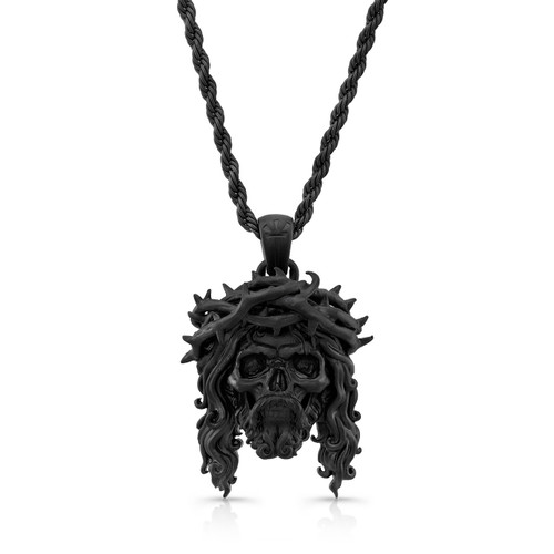 Chuey quintanar matte black jesus skull 25 in rope chain necklace image 1 mozeypictures Images