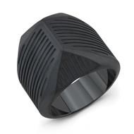 Black Titanium Striped Talon Men's Ring