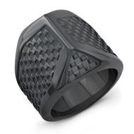 Black Titanium Checker Talon Men's Ring