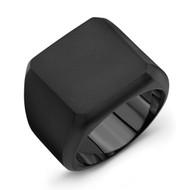 Black Titanium Block Men's Ring