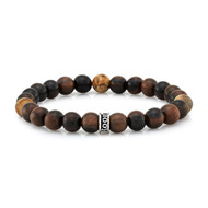 Wood & Agate Bead Stretch Bracelet