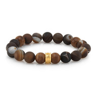 8mm Brown & Gray Swirl Agate Bead Bracelet