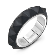 Black Titanium with Stainless Steel Small Men's and Women's Pyramid Ring