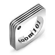 Sterling Silver Square Ring with Stripes