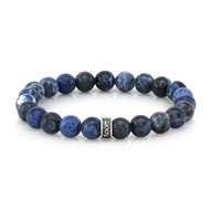 8mm Sodalite Bead Bracelet with Sterling Silver cuff