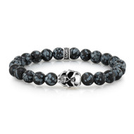8mm Snowflake Agate Bead Bracelet With Sterling Silver Skull