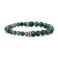 6mm and 8mm Moss Agate Bead Bracelet with Double Logo Fitting