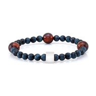 6mm Blue and 10mm Red Tiger Eye Bead Bracelet