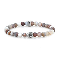 6mm Botswana Agate With Silver Buddha Bead Bracelet