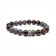 10mm Satin Hematite & Red Tiger Eye Bead Bracelet