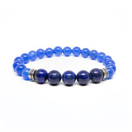 8mm Blue Agate & 10mm Lapis Bead Bracelet