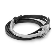 Silver Arrow With Black Leather Wrap Bracelet