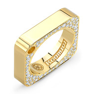 18K Gold Square Ring With Micro White Diamonds on Side