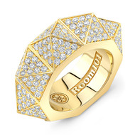 18K Gold Pyramid Ring With Micro White Diamonds