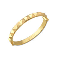 18K Gold Pyramid Bangle Bracelet With White Diamonds