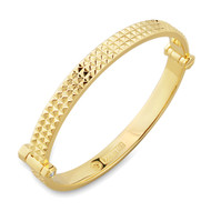 18K Gold Multi Spike Bangle Bracelet With Micro White Diamonds
