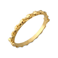 18K Gold Skull Bangle Bracelet With White Diamonds
