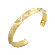 18K Gold Pyramid Flame Cuff Bangle Bracelet With Micro White Diamonds