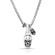 "Medium Skull With Small Filigree Skull And 26"" Rounded Box Chain Necklace"