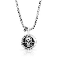 "Skull-n-bones Coin Pendant With 26"" Rounded Box Chain Necklace"