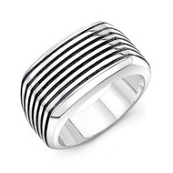 Striped Sterling Silver Ring