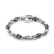 Men's Sterling Silver Mini Filigree Skull & 4 Links Bracelet