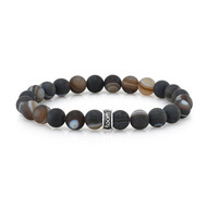 8mm Frosted Agate Bead Bracelet