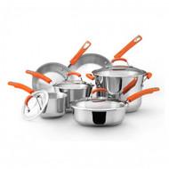 Rachael Ray Orange Handle Stainless Steel 10 Pc. Set